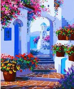 Santorini Flower Path paint by numbers