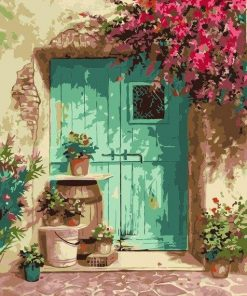 Flowers Decorate Door of The House Paint By Numbers