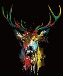 Colored Deer in Dark paint by numbers