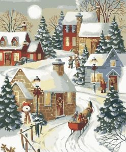 Village Sleigh Ride Christmas paint by numbers
