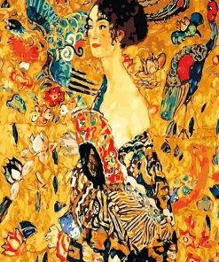 Lady With Fan Gustav Klimt Abstract Paint by numbers