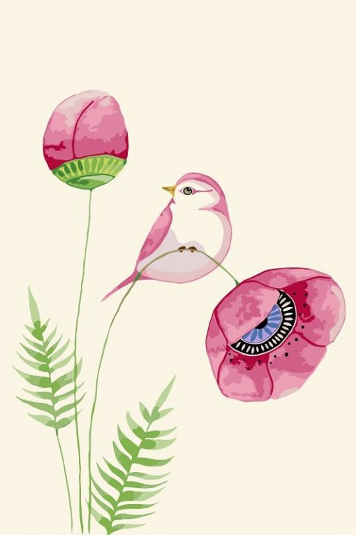 Peony Flower And Bird Paint by numbers