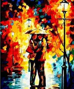 Romantic Lover Under Rain paint by numbers