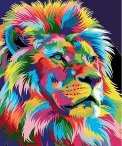 Colorful Abstract Lion Paint by numbers