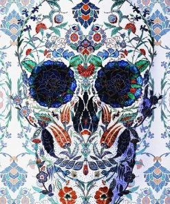 Skull With Mandala Of Flowers paint by numbers