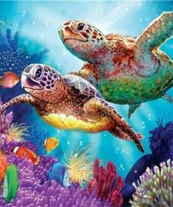 Turtle Couple – Animals Paint By Number Paint by numbers