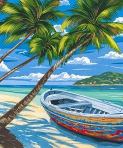 Un-bateau-chou-sur-une-le-peinte-la-main-cr-ative-peinture-l-huile-num-rique