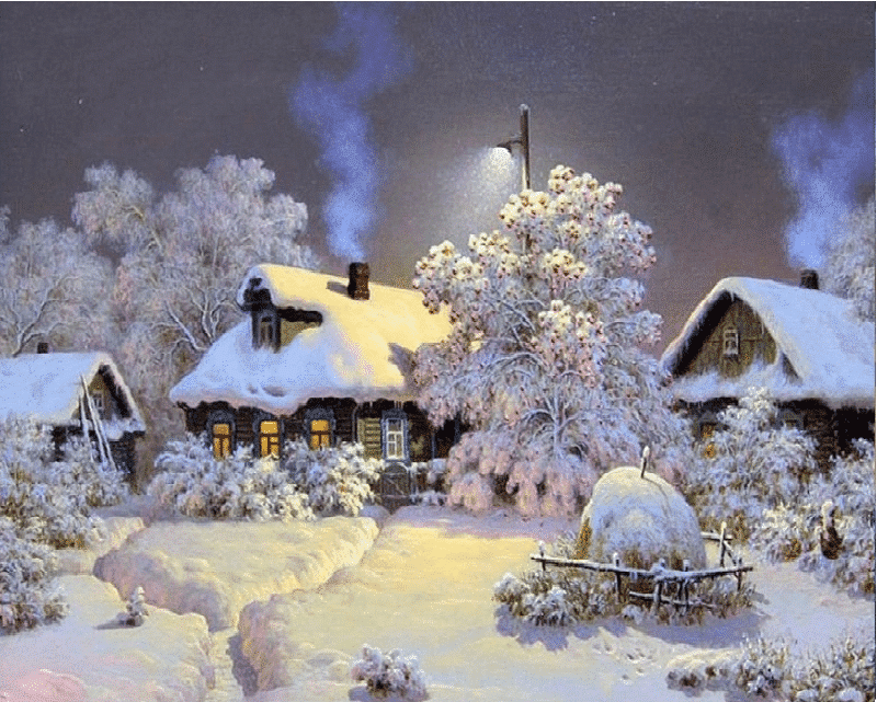 Winter Snow Villa Paint by numbers