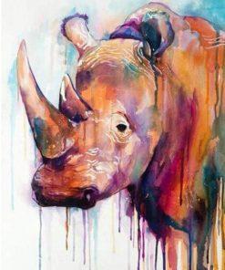 rhinoceros splatter paint by numbers