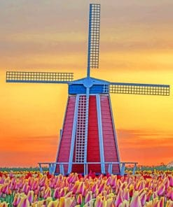 Windmill In Sunset paint by numbers