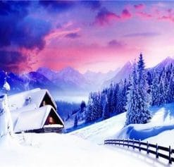 Winter Snowfall Mountain paint by numbers