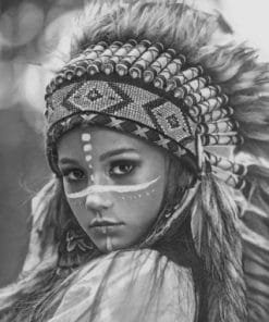 Black And White Amerindian paint by numbers