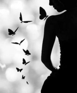Butterfly Woman Silhouette paint by numbers