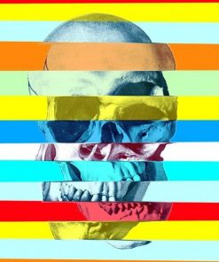 Glitch Skull paint by numbers