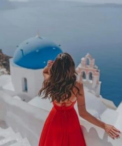 Lady Enjoying Santorini Greece paint by numbers