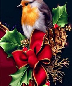 Bird on Red Christmas Ribbon paint by numbers