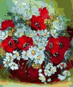 White And Red Daisies paint by numbers