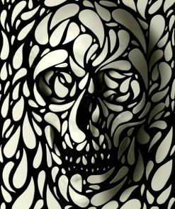White and Black Dye Skull paint by numbers