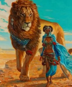 African Woman And Lion paint by numbers