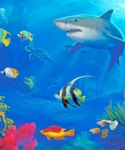 Colorful Fish And Shark Paint by numbers
