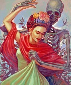Frida Kahlo Dancing With Skull paint by numbers