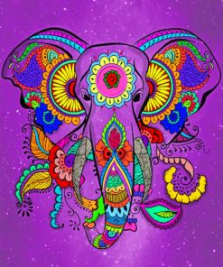 Mandala Elephant paint by numbers