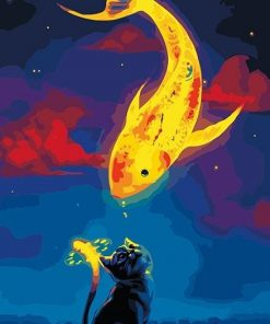 painting-by-numbers-art-paint-by-number-Black-cat-and-golden-goldfish-cartoon-pictures-by-numbers