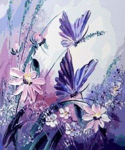 Purple Butterflies paint by numbers