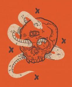 Vintage Skull Illustration paint by numbers