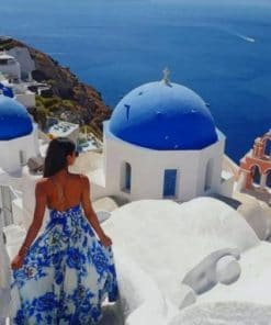 Woman Enjoying Santorini paint bynumbers