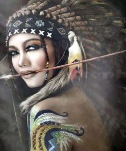 Fierce Native American Woman Warrior paint by numbers