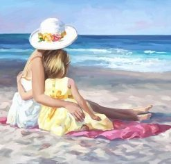 Mother And Daughter In Beach Paint by number
