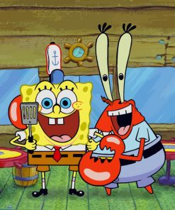 Spongebob And Lobster Paint by numbers