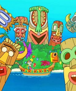 Squidward Tiki Land Paint by numbers