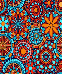 Aesthetic Orange And Blue Mandala Paint by numbers