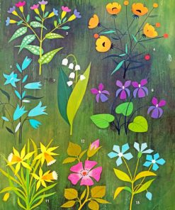 Aesthetic Flowers And Leaves paint by numbers