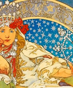 Aesthetic Queen By Alphonse Mucha Paint by numbers