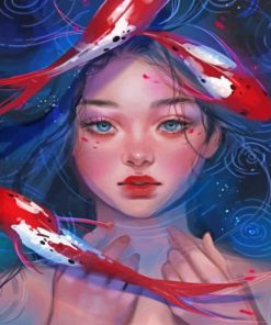 Asian Girl And Koi Fish Paint by numbers