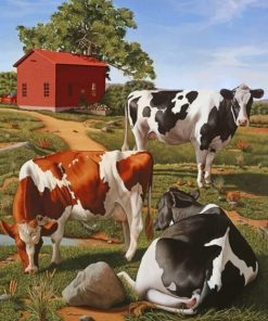 Black And Brown Cows Paint by numbers
