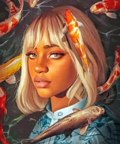 Black Girl And Koi Fishes Paint by numbers