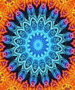 Fire Blue Mandala paint by numbers
