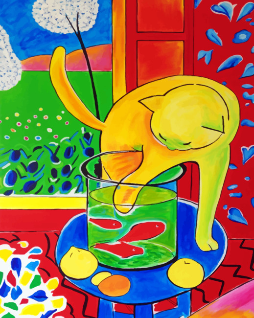 Cat And Fishes Matisse paint by numbers