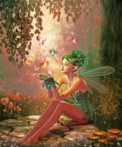 Fairy With A Green Hair paint by numbers