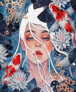 Lotus Girl And Koi Fishes Paint by numbers