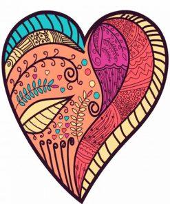 Heart Mandala Art Paint by numbers
