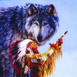 Native American Wolf paint by numbers