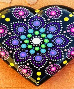 Mandala Black Heart paint by numbers