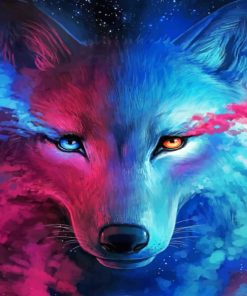 Neon Wolf Paint by numbers