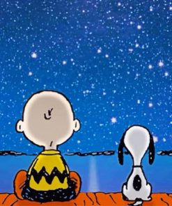 Snoopy And Charlie In A Starry Night Paint by numbers