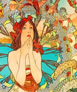 Woman By Alphonse Mucha Paint by numbers